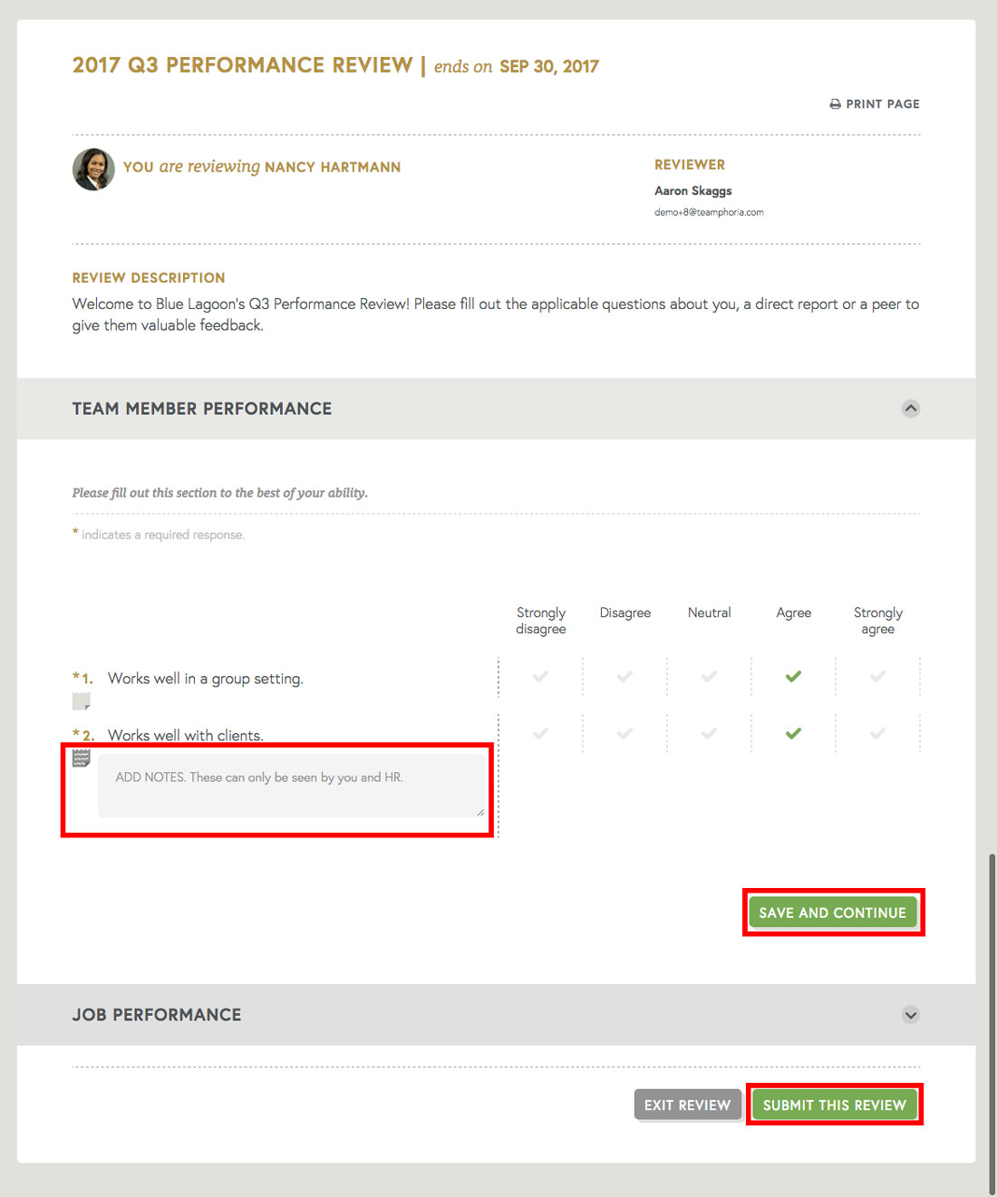 employee review template for managers to take