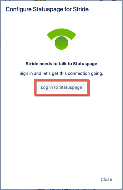 Log in to Statuspage