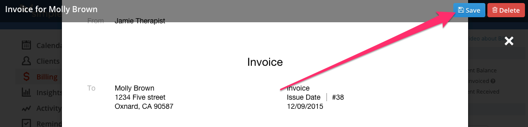 Saving an Invoice in SimplePractice