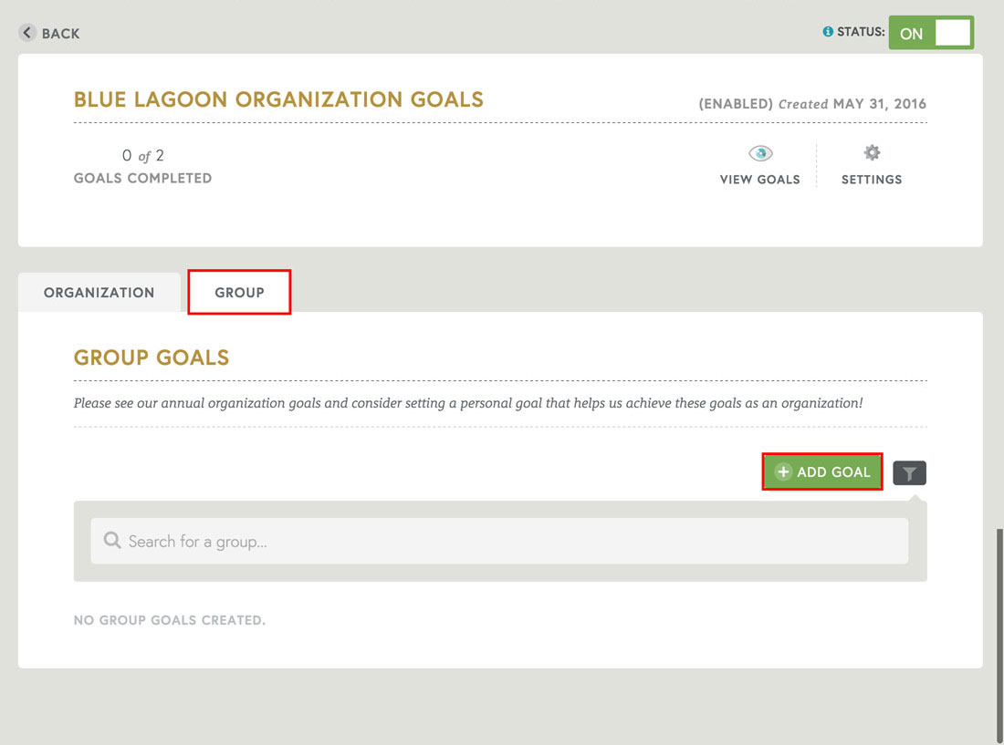 employee recognition software that allows group goals for performance management