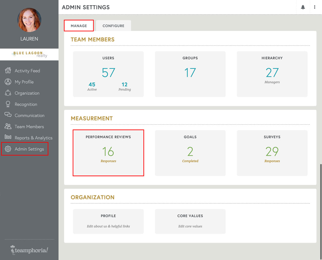 performance management admin settings view for employee reviews