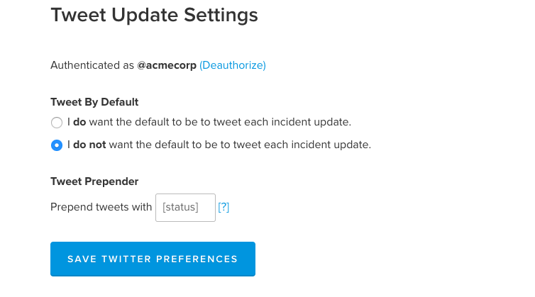 Update Twitter Settings