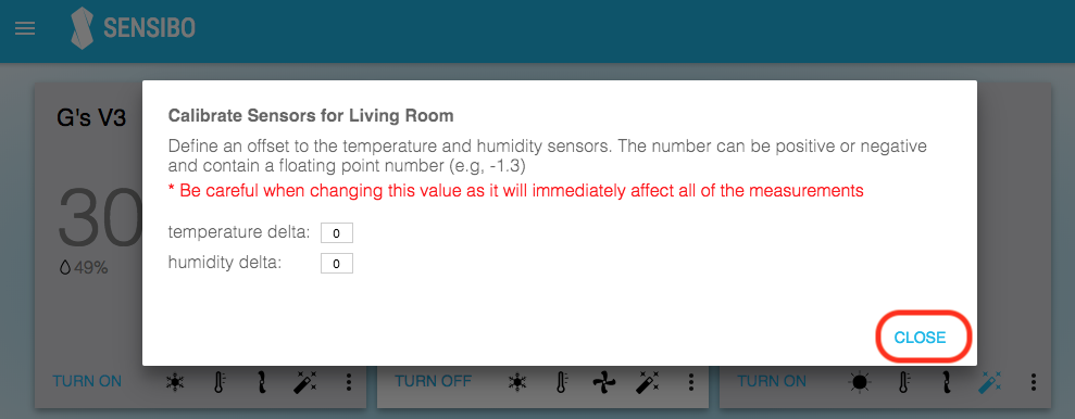 calibrate temperature humidity save values