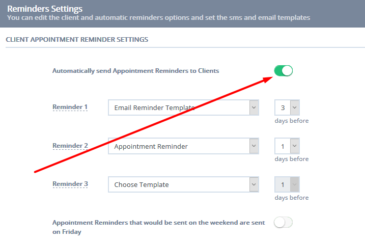 Setting up and editing email appointment reminders 2 selecting the email template and notice period for your deftault reminder settings maxwellsz