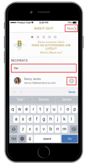 choose your employee to send employee recognition to