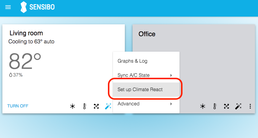 Climate React setup menu