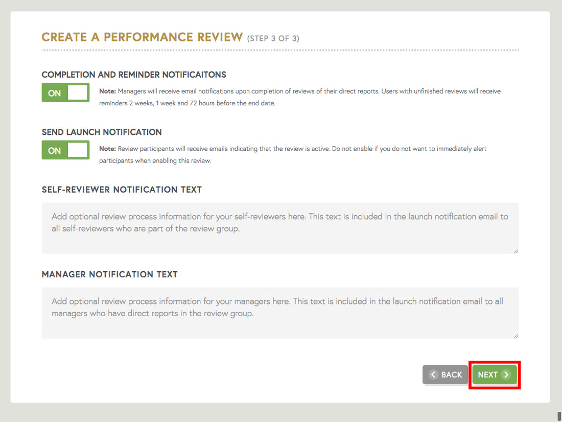 employee review template launch notification for employee communication about employee review