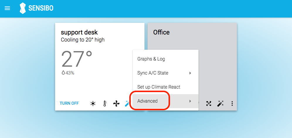 Sensibo Web App advanced menu item