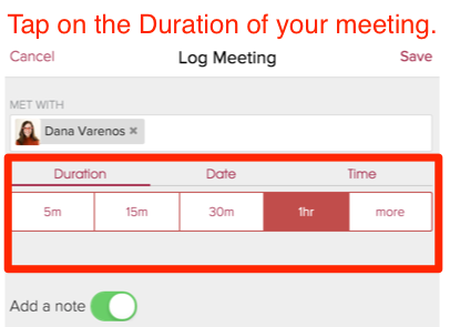 in the section labeled duration set the length of your meeting