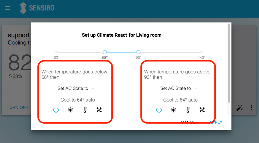 Climate React Screen a/c state
