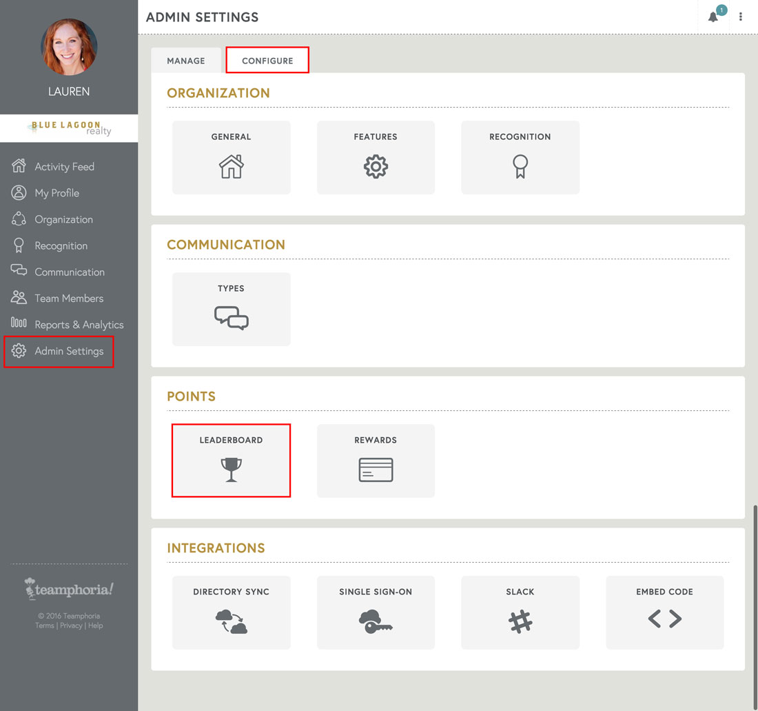 free performance management software admin settings page for leaderboard points