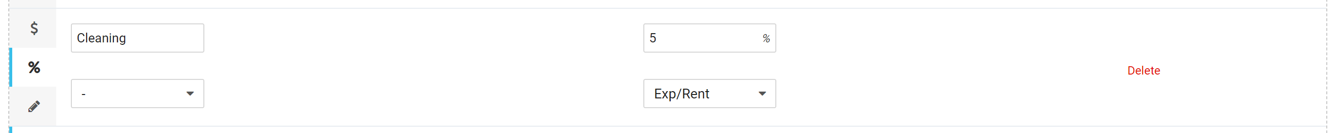 Add Expense (%) as Percent Value