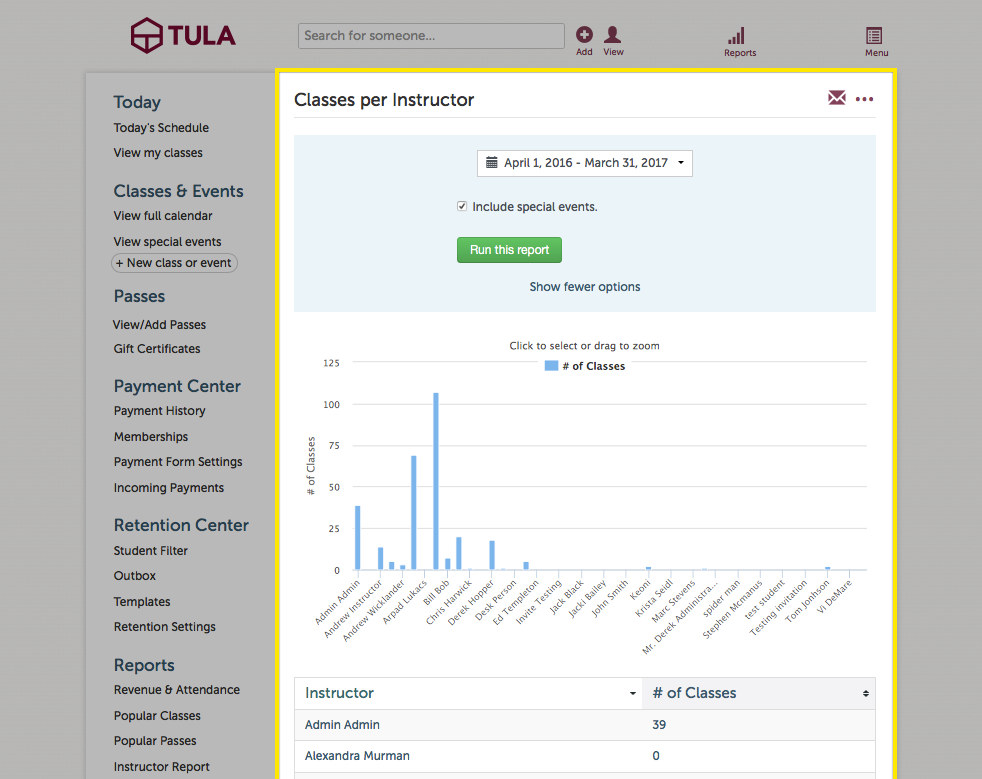 instructor reports tula software help