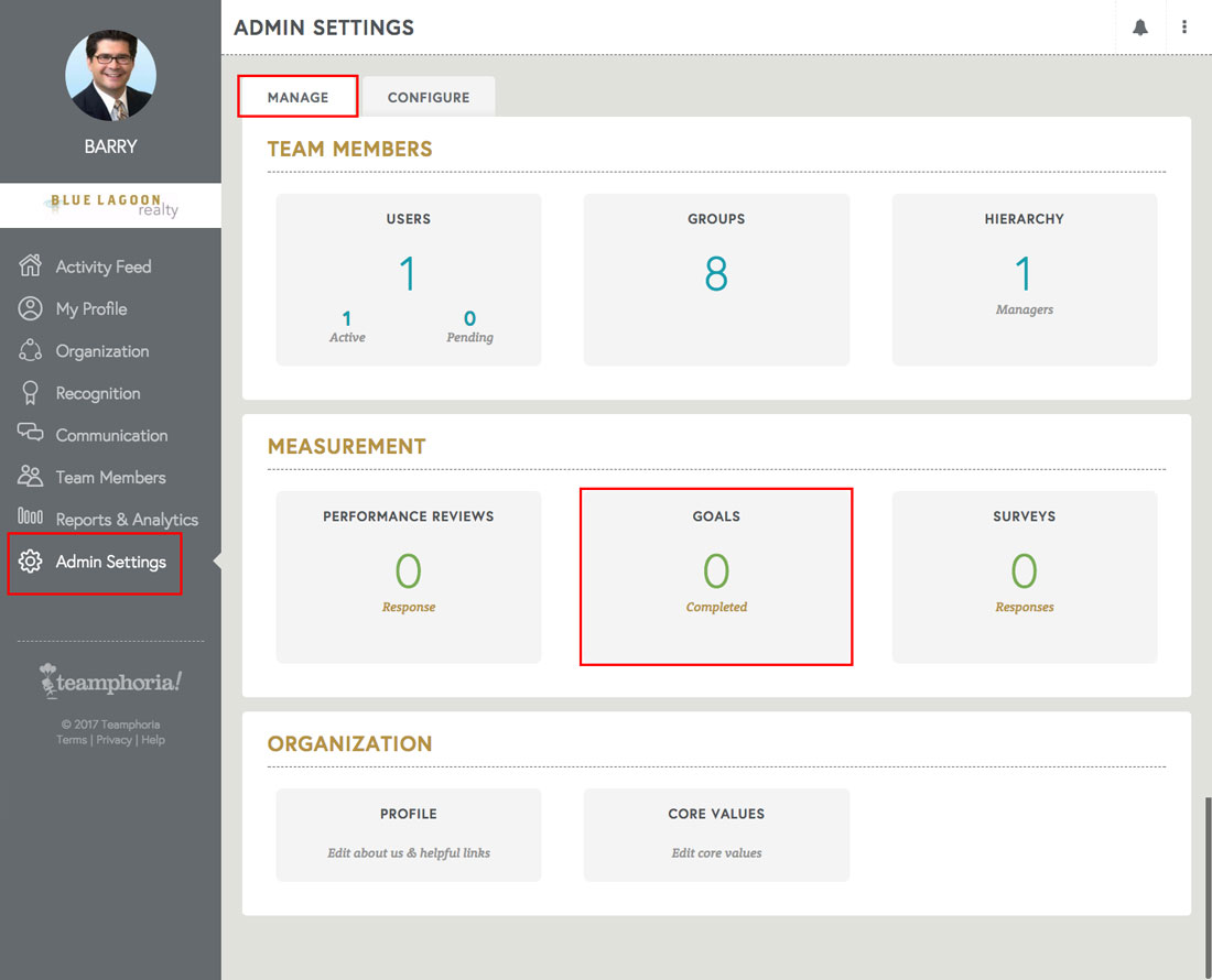 performance management goals feature in admin settings