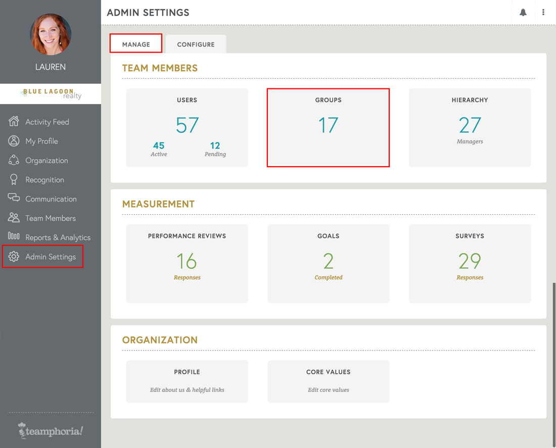 employee recognition software admin settings page