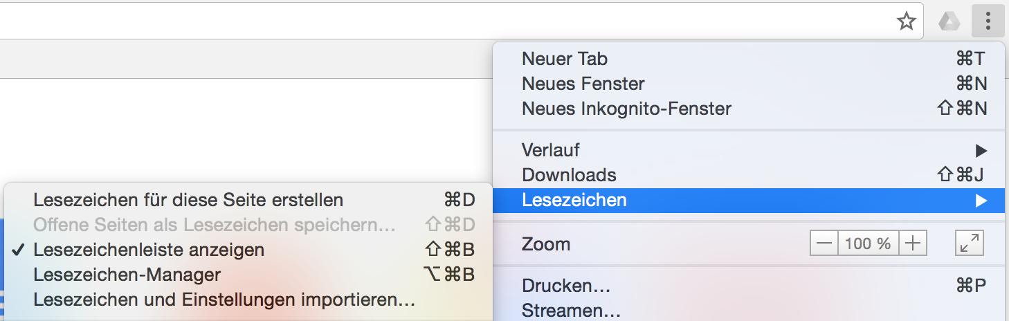 Lesezeichenleiste dauerhaft einblenden in Chrome