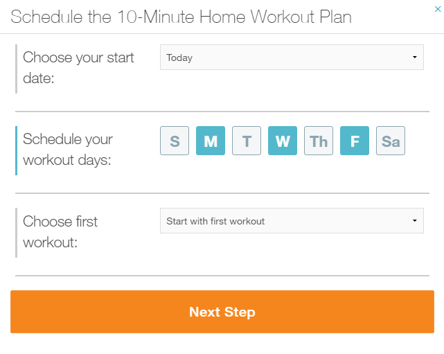 In The Pop Up Window Look For Schedule Your Workout Days Then Select That You Wish To On