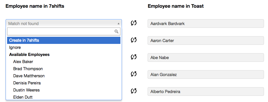 match simply find the corresponding employee in the list