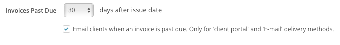 Check a box to send e-mail alerts for past-due invoices in SimplePractice