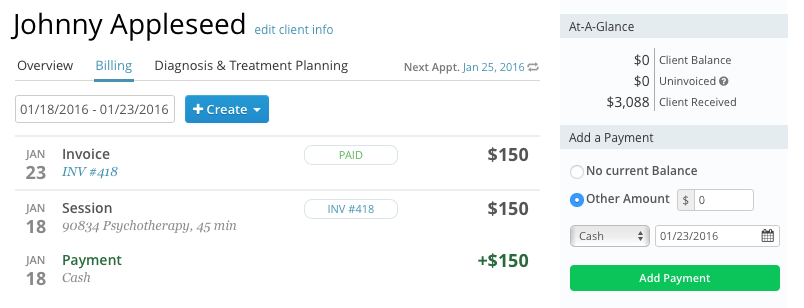 Generating an invoice in SimplePractice