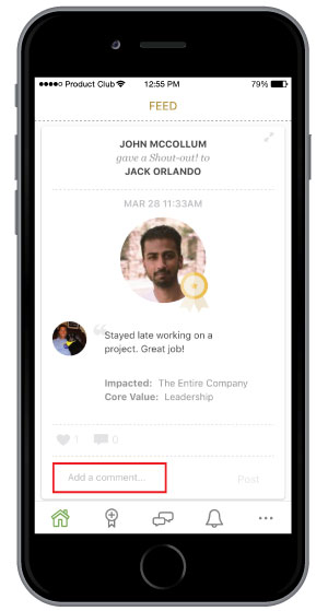 adding comments to employee recognition on mobile app