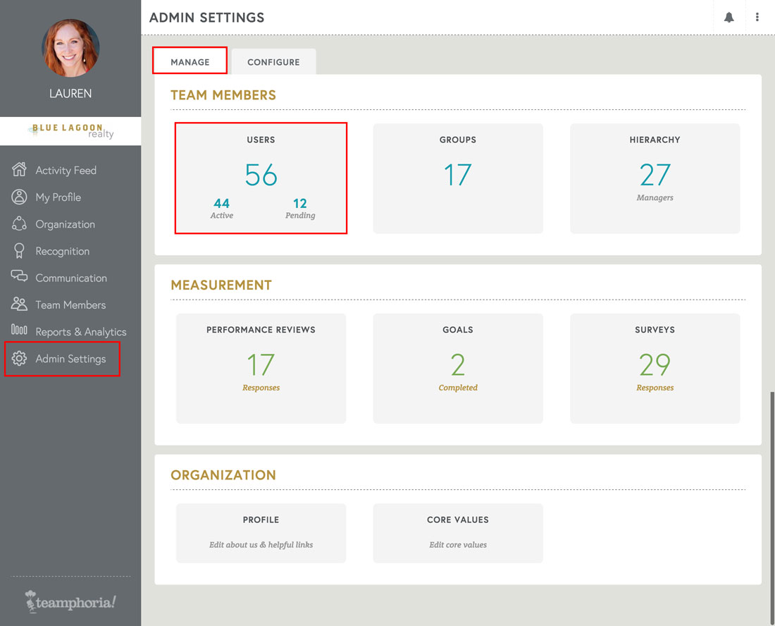 employee engagement platform admin settings page