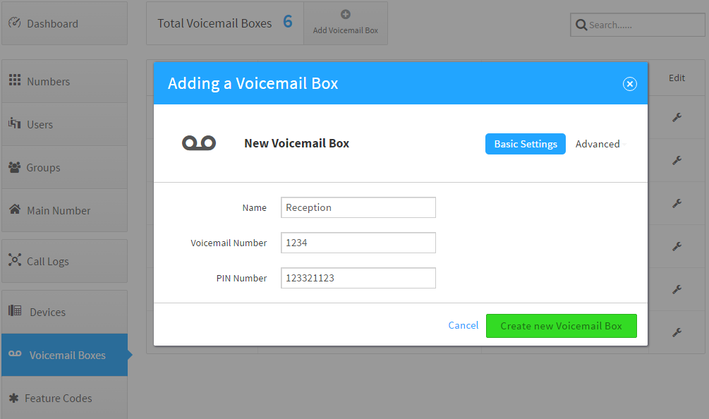 Add Voicemail Box