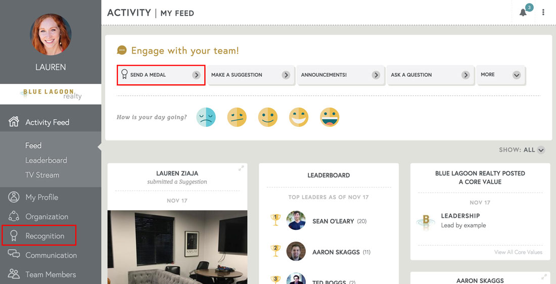employee engagement platform activity feed