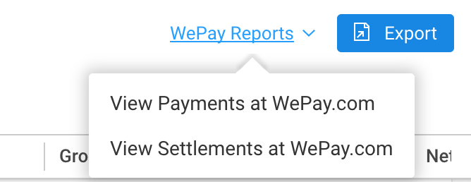 WePay Reports Links