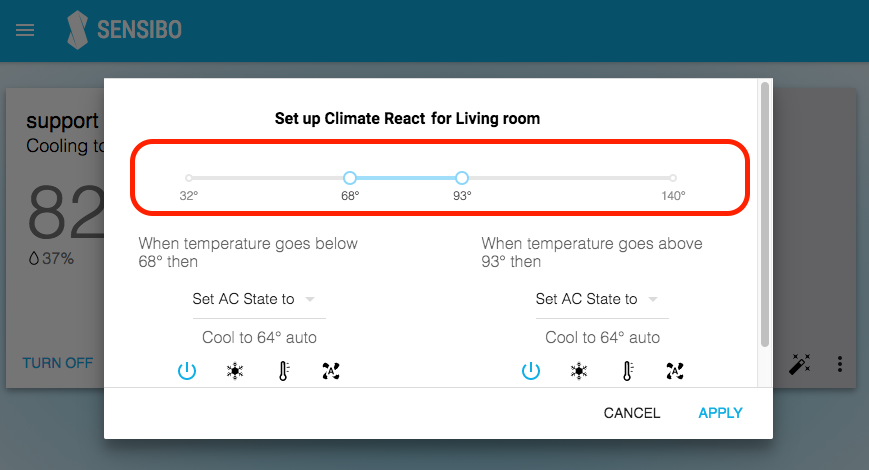 Climate React Screen temperature bar