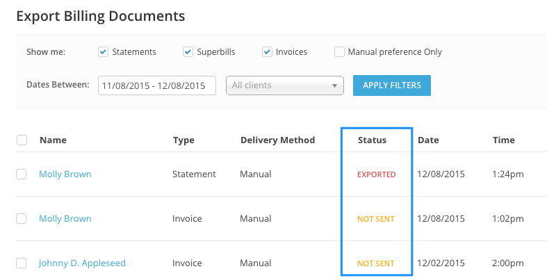 Export Billing Documents filters in SimplePractice