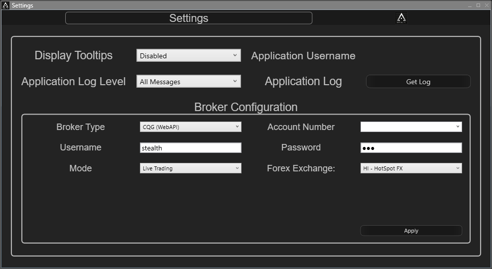 Link your CQG account to Stealth Professional