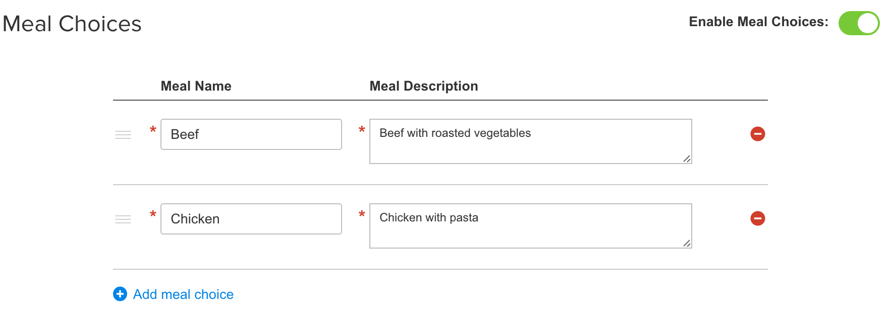 Enable Meal Choices