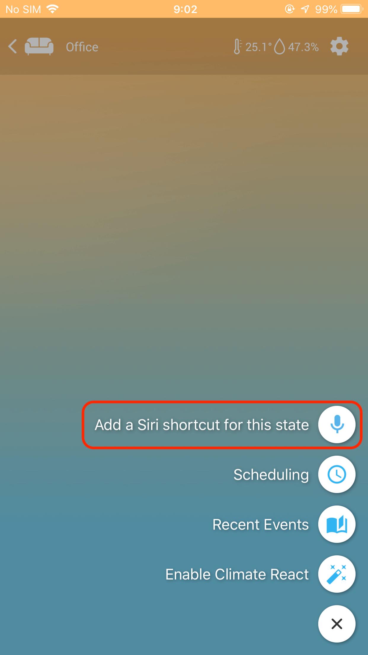 sensibo add siri shortcut for this state