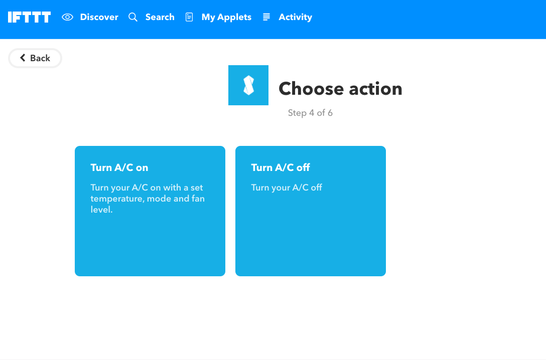 IFTTT webhooks choose action