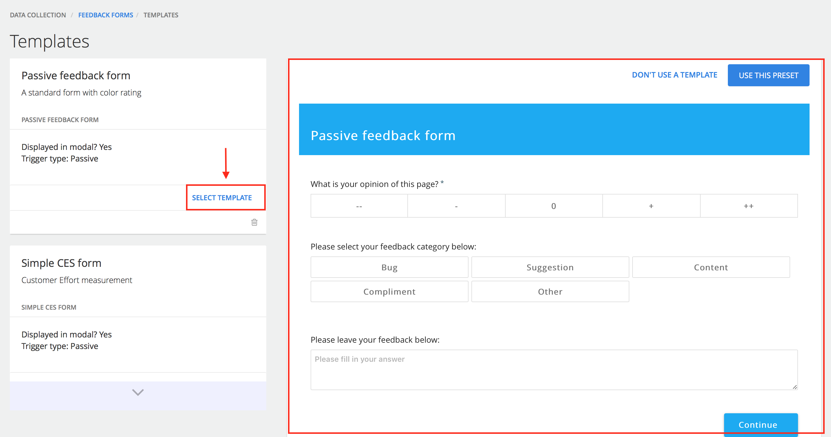 How do I build a feedback form by using a form template