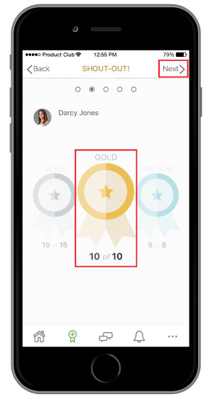 selecting which level of employee recognition to send on employee engagement mobile app