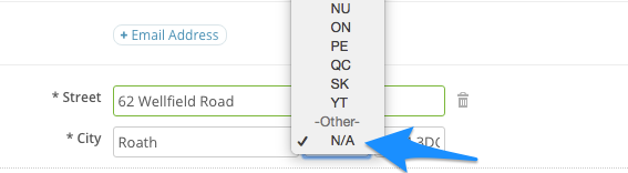 N/A selection for addresses outside the US and Canada in SimplePractice