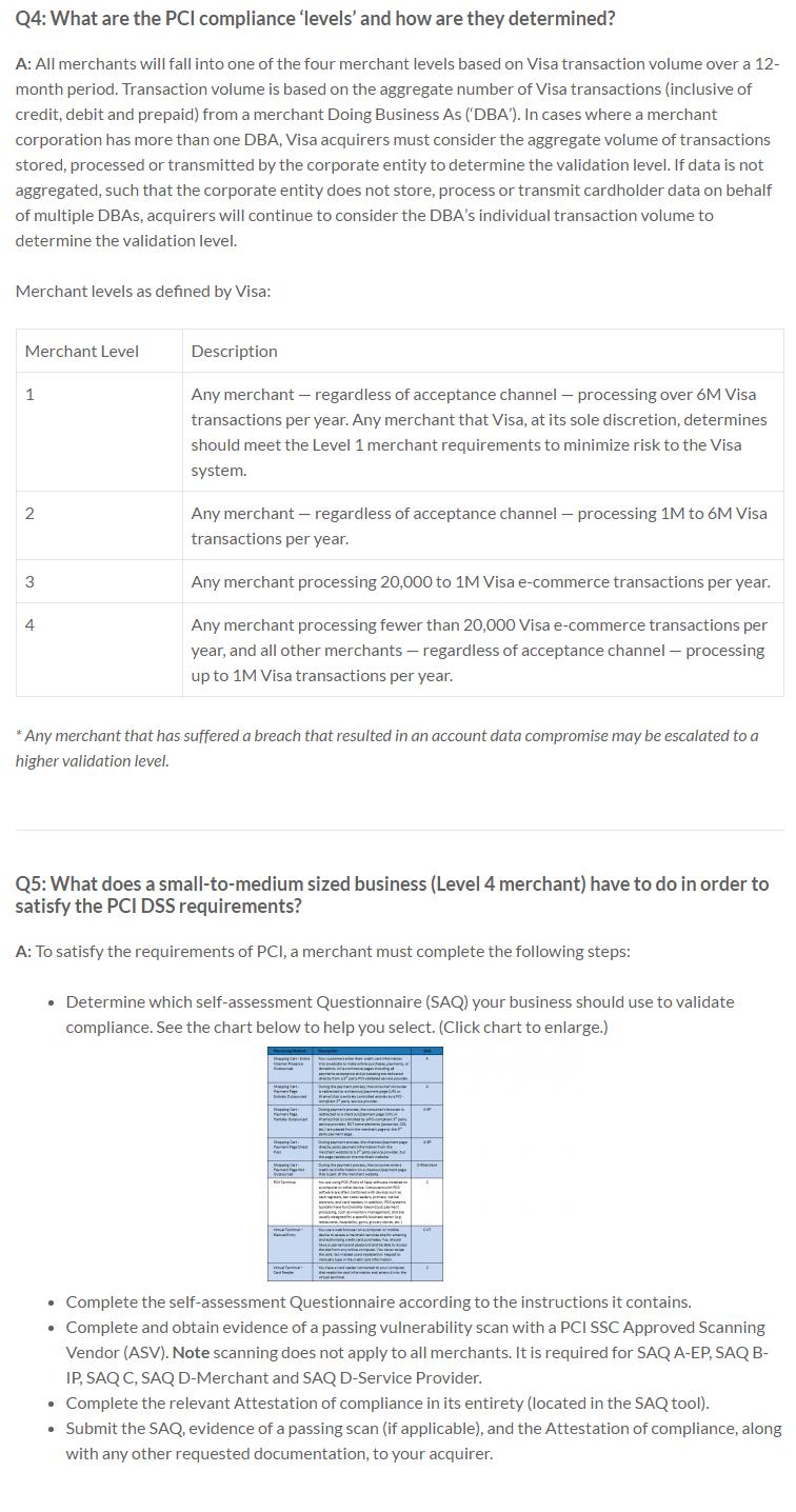 PCI DSS Levels