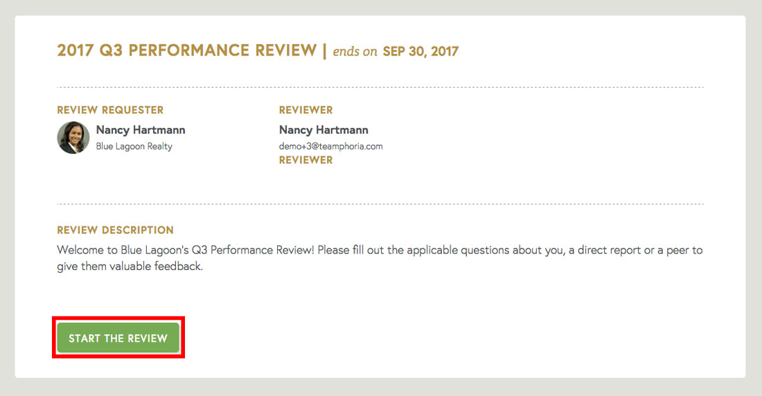 performance review form description page