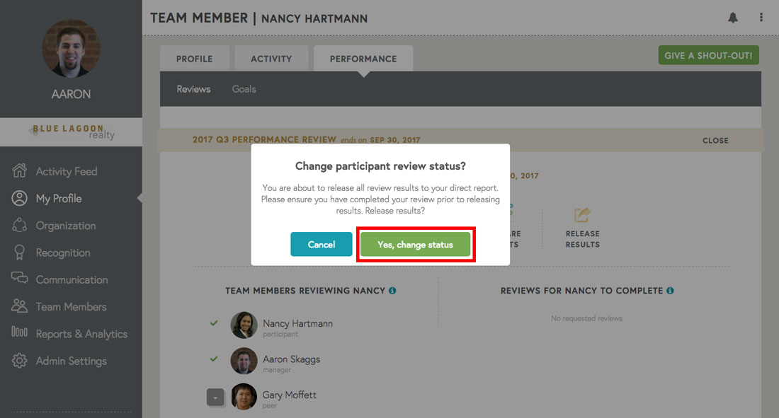 changing participant review status on free performance management software