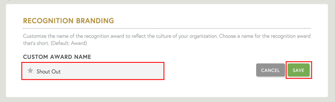 customize your employee recognition name