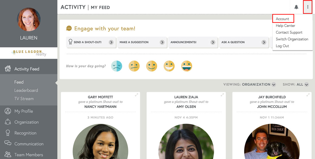 employee engagement platform account management