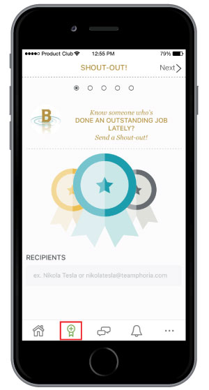 sending employee recognition on employee engagement mobile app