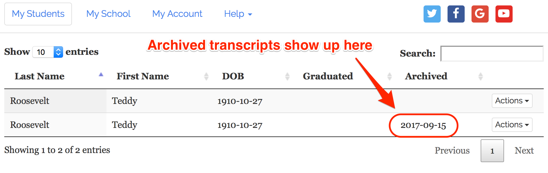 Where to find archived transcripts