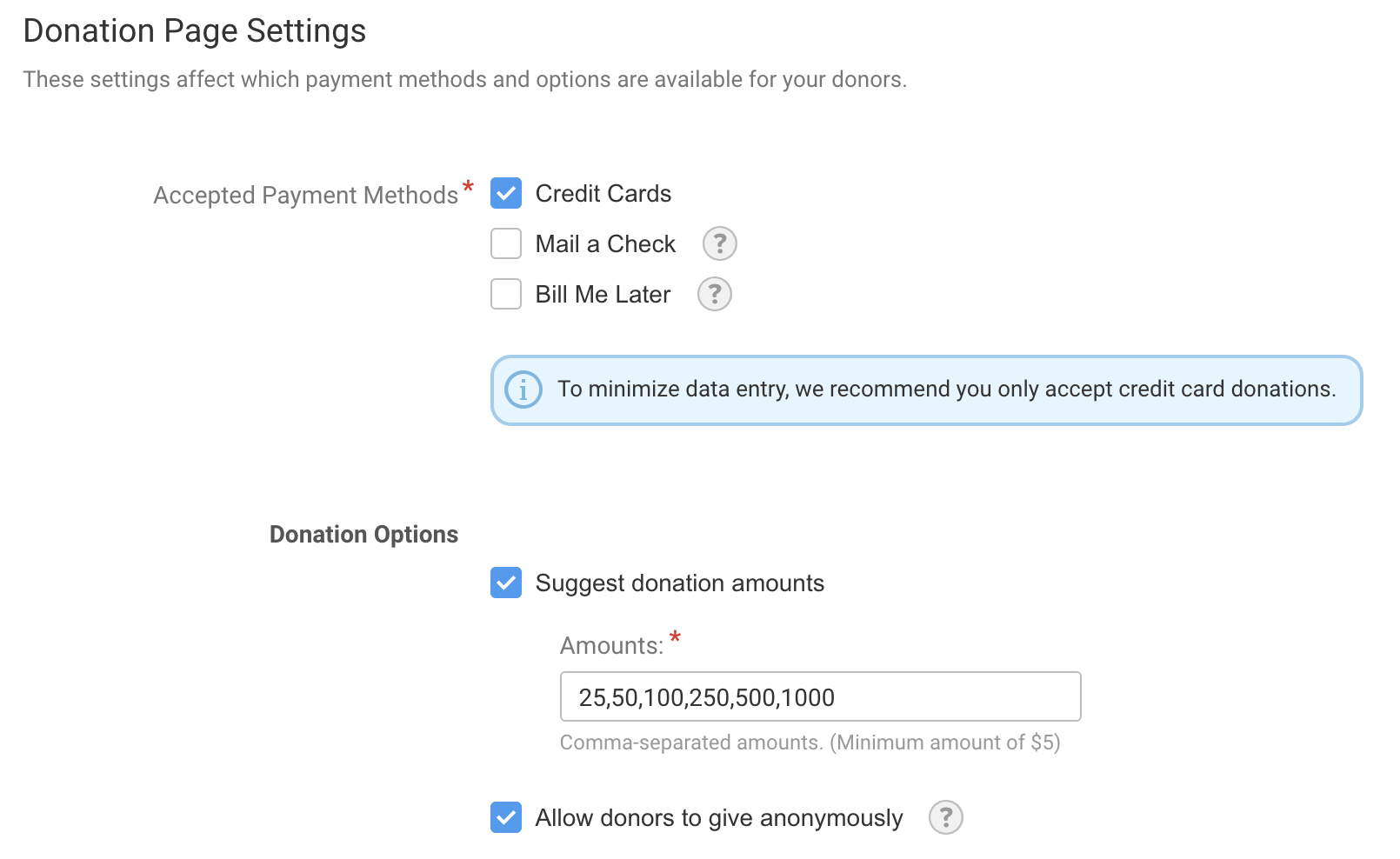 Donation Page Settings