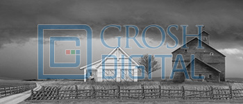 Black and White Kansas Farm Projected Backdrop for