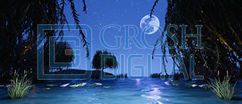 Lagoon with Fireflies Projected Backdrop for Big Fish, Forest, Little Mermaid, Peter Pan, Shrek