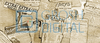 Newspaper Montage Projected Backdrop for Abstract, Newsies