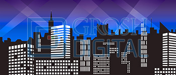 Stylized City Skyline 1 Projected Backdrop for 42nd Street, Abstract, Annie, Big Fish, Broadway/New York, Crazy for You, Damn Yankees, Dance, Elf the Musical, Exteriors, Guys and Dolls, How to Succeed in Business, Newsies, Skylines, Thoroughly Modern Millie